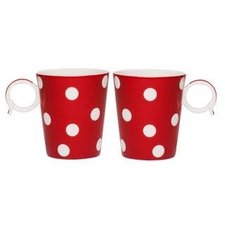 Freshness Mix & MatchDots Red and White 12-ounce Mug Set