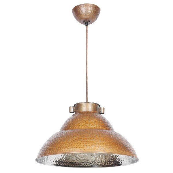 Shop Ajo Hammered Nickel And Bronze 1 Light Dome Pendant