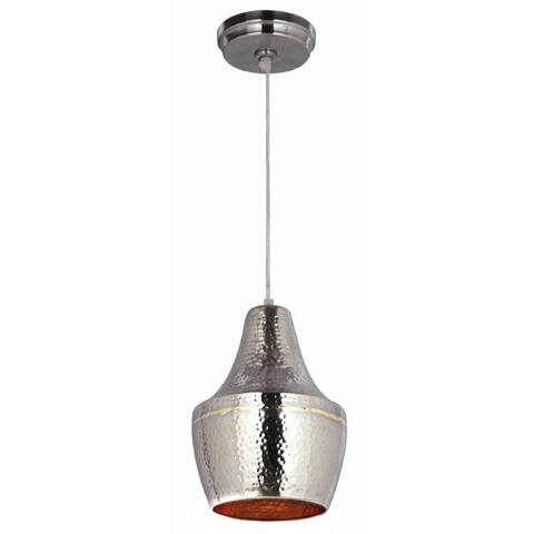 Pittsfield Hammered Nickel and Brass 1-light Mini Pendant