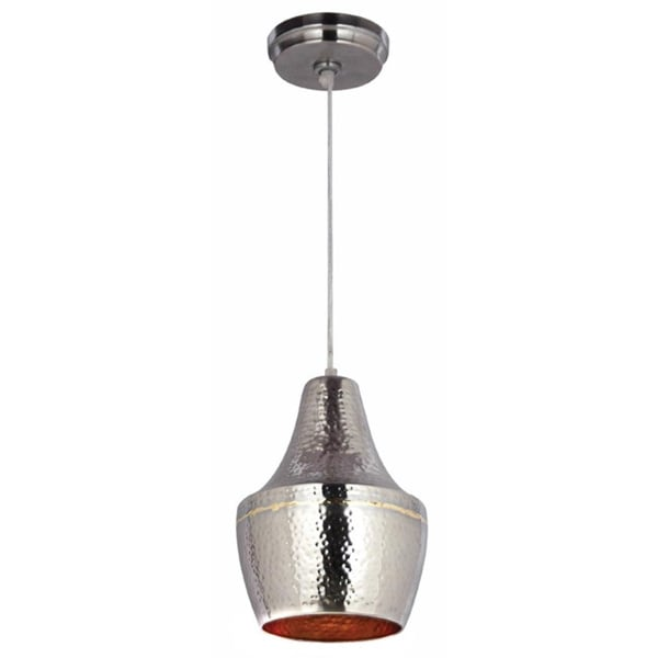 Pittsfield Hammered Nickel and Brass 1 light Mini Pendant   Free Shipping Today   Overstock com