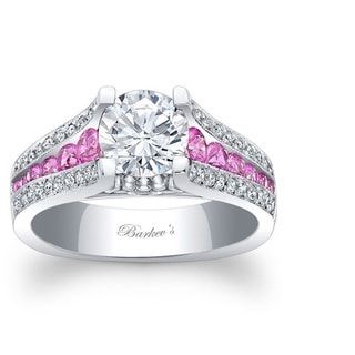 Barkev's Designer 14k White Gold Diamond and Pink Sapphire Ring