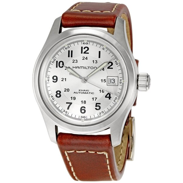 Hamilton Men's Brown Leather Silvertone Dial Automatic Watch. Opens flyout.
