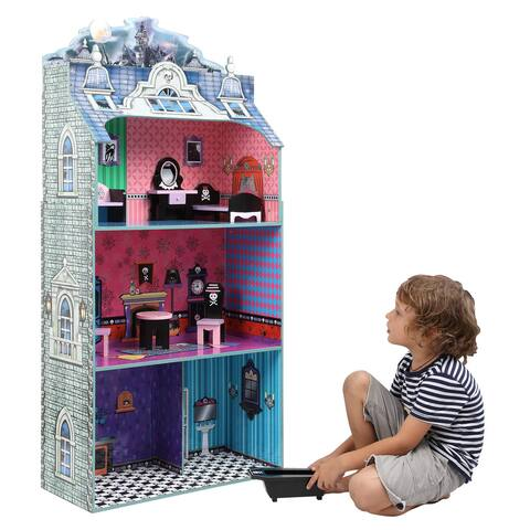 Teamson Kids- Monster Mansion Doll House with Furniture