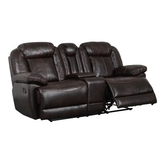 Double-reclining Brown Console Loveseat