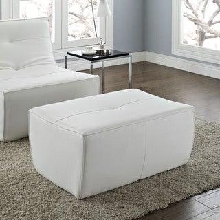 Modway Align White Leather Ottoman