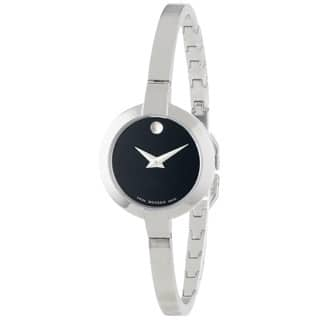 Movado Women's 0606595 Bela Stainless Steel Black Dial Watch https://ak1.ostkcdn.com/images/products/8931540/P16146540.jpg?impolicy=medium