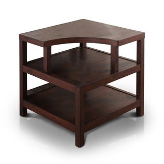 Furniture of America Valencia Open Shelf Vintage Walnut End Table