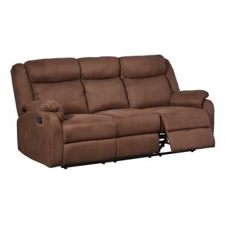 Chocolate Dual-reclining Microfiber Sofa