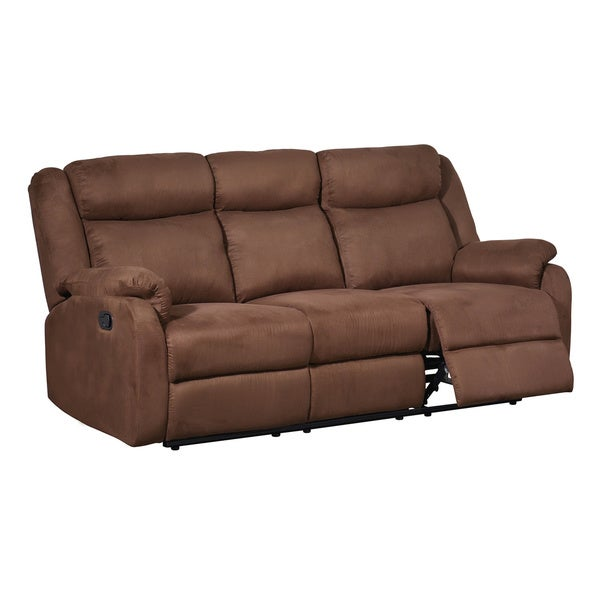 Shop Chocolate Dual Reclining Microfiber Sofa Free