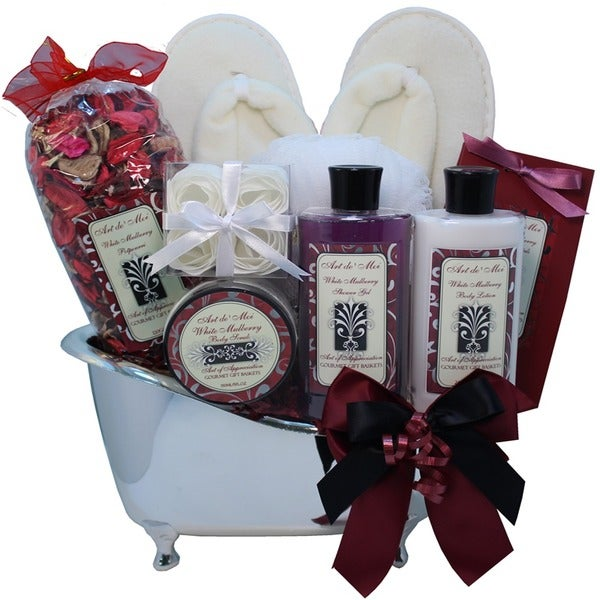 White Mulberry Spa Bath and Body Gift Basket Set. Opens flyout.