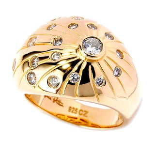 Sonia Bitton Yellow Goldplated Sterling Silver Cubic Zirconia Burst Dome Ring
