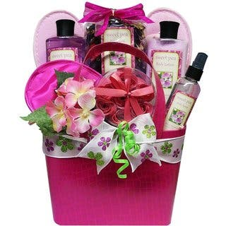 Gift baskets for less overstock tickled pink sweet pea spa bath and body gift basket set negle Gallery