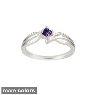 Sterling Silver Princess-Cut Amethyst, Blue Topaz, Citrine, Garnet, Peridot Gemstone Ring