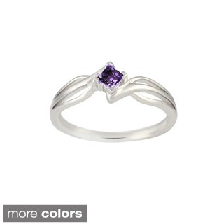 Sterling Silver Princess-Cut Amethyst, Blue Topaz, Citrine, Garnet, Peridot Gemstone Ring