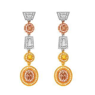 18k Tri-color Gold Victorian Style 1 5/8ct TDW Fancy Color Diamond Dangling Earrings (G, SI1)