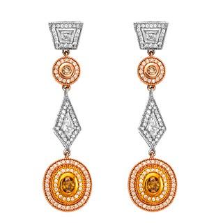 18k Three-tone Gold Victorian Style 1 2/5ct TDW Yellow Diamond Dangling Earrings (G-H, SI1-SI2)
