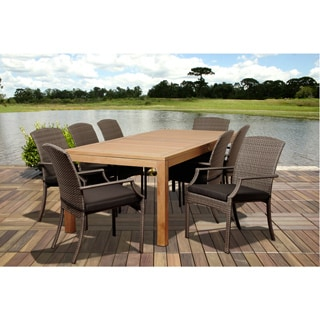Amazonia Teak Piemonte 9-piece Outdoor Dining Rectangular Teak/ Wicker Set