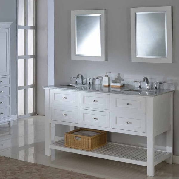 Direct Vanity 60-inch Pearl White Mission Spa Double Vanity Sink Cabinet. Opens flyout.