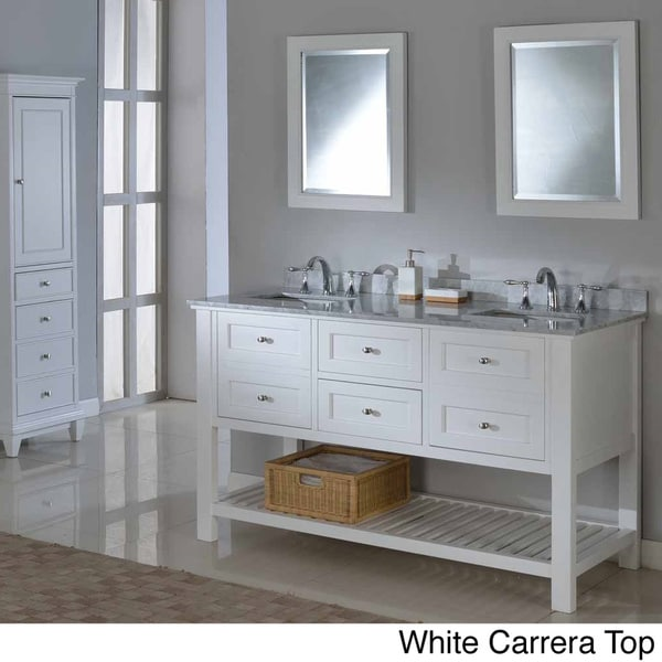vanity 60 inch pearl white mission spa double vanity sink cabinet