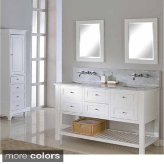 Direct Vanity 60-inch Pearl White Mission Spa Premium Double Vanity Sink Cabinet