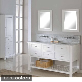 Direct Vanity 60-inch Pearl White Mission Spa Premium Double Vanity Sink Cabinet (2 options available)