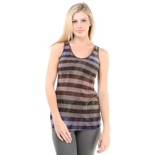 24/7 Comfort Apparel Women's Neutral Striped Reversible Tank