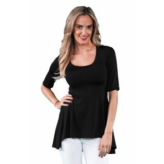 24/7 Comfort Apparel Women's High-low Elbow Sleeve Tunic