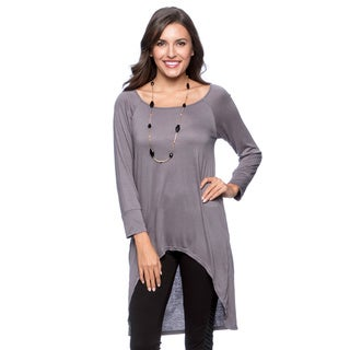 24/7 Comfort Apparel Women's High-low Long Sleeve Tunic Top