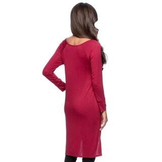 24/7 Comfort Apparel Women's High-low Long Sleeve Tunic Top