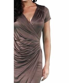 24/7 Comfort Apparel Women's Faux Wrap Knee-length Dress