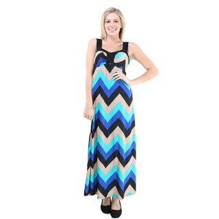 24/7 Comfort Apparel Women's Multicolor Chevron Print Sleeveless Maxi Dress