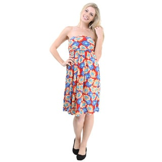 24/7 Comfort Apparel Women's Multicolor Printed Sleeveless Tube Short Dress