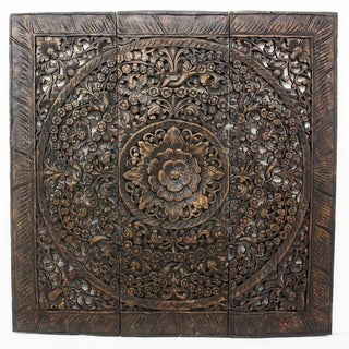 Handmade Recycled Teak Lotus Wall Panel Inlay (Thailand)