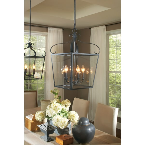 Foyer Chandelier With Shades : Shop lockheart light clear glass shade hall foyer