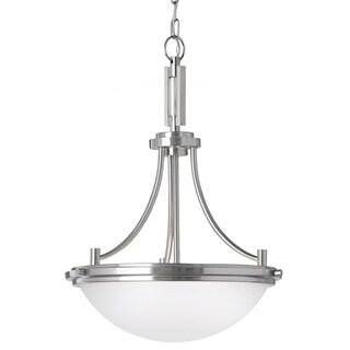 Winnetka 3-light Brushed Nickel/ Satin Etched Glass Pendant