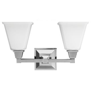 Denhelm 2-light Etched Glass White Shade Wall Vanity