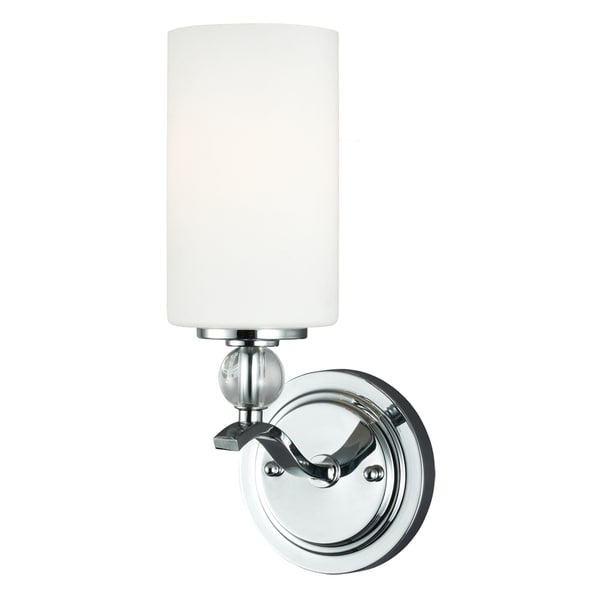 Bathroom Sconces Overstock englehorn 1-light chrome/ etched glass wall sconce - free shipping