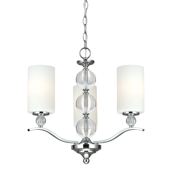 Englehorn 3-light Chrome and Crystal Chandelier