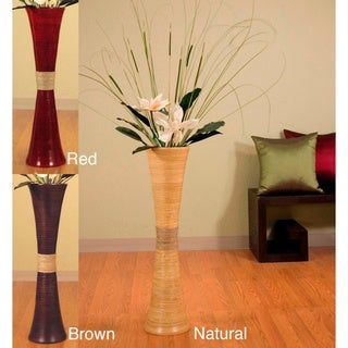Tall Bamboo 31-inch Trumpet Vase and Magnolias