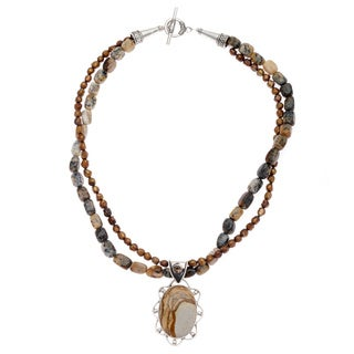 Sterling Silver Freshwater Pearl and Jasper Canyon Necklace (5 mm)