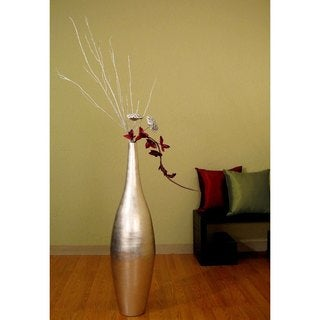 Tall Silverleaf Ellipse 41-inch Vase and Floral
