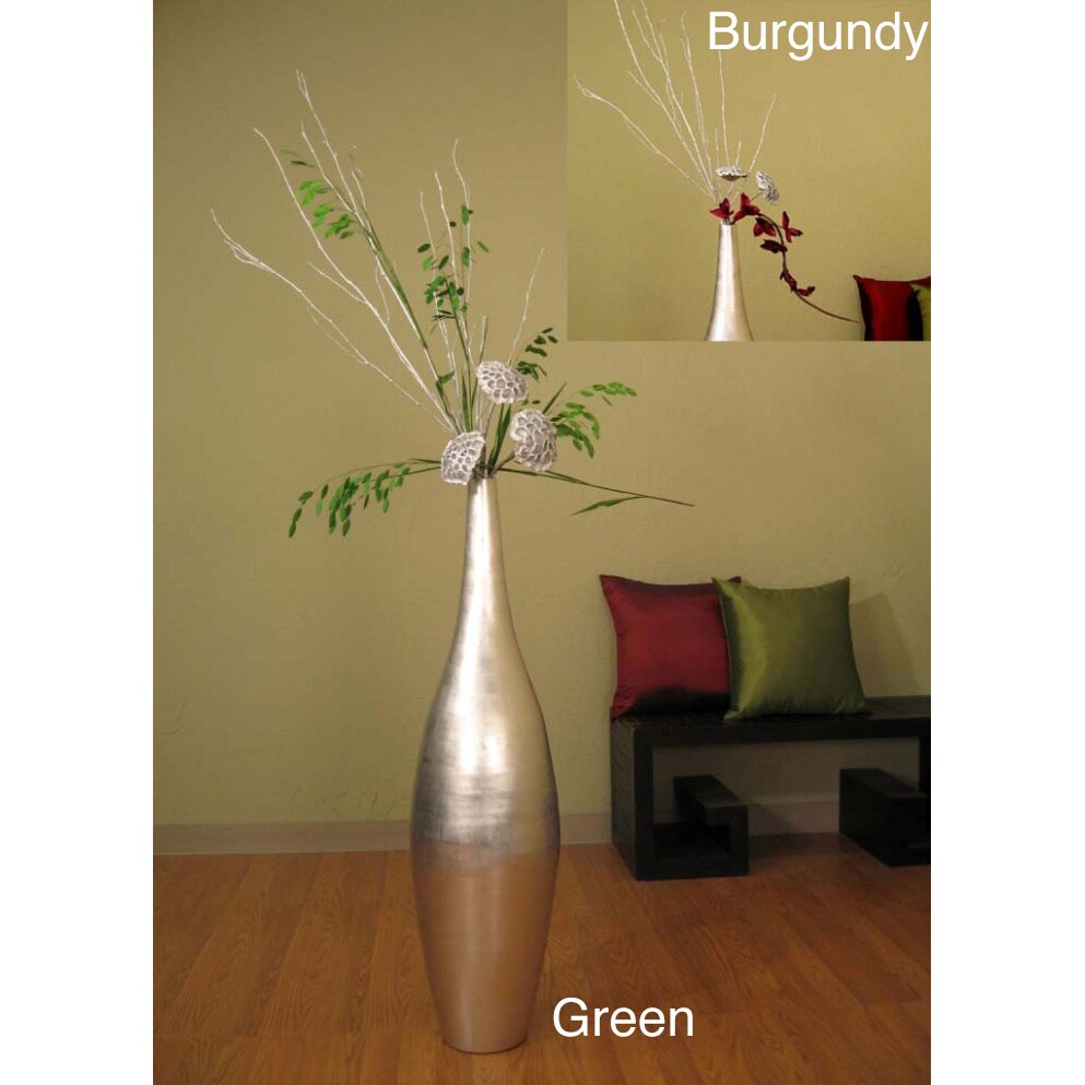Tall Silverleaf Ellipse 41-inch Vase and Floral (Gold/Green)