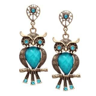 Bleek2Sheek Antiqued Bronzed Multicolor Crystal Wise Owl Stud Dangle Earrings|https://ak1.ostkcdn.com/images/products/8932694/P16147404.jpg?impolicy=medium