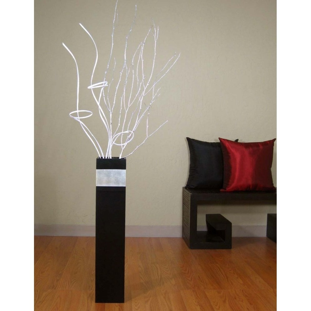 Green Slender Rectangle 28-inch Black Vase and Branches (...