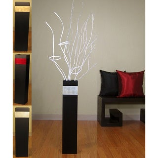 Slender Rectangle 28-inch Black Vase