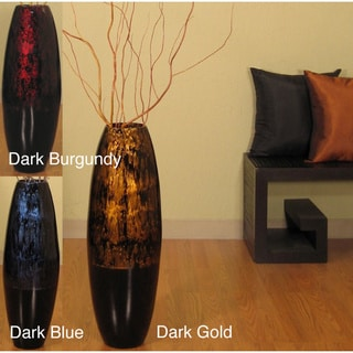 Lacquer Cylinder 28-inch Floor Vase and Branches