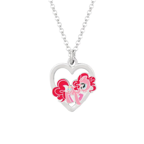 Fine Silver Plated Pinkie Pie in Heart My Little Pony Pendant Necklace