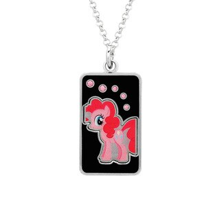 Fine Silver Plated Crystal Pinkie Pie Dog Tag My Little Pony Pendant Necklace