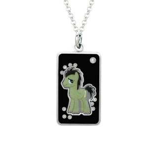 Fine Silver Plated Crystal Dr. Hooves Dog Tag My Little Pony Pendant Necklace