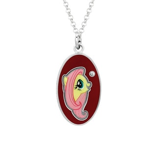 Fine Silver Plated Crystal Fluttershy Head Oval Dog Tag My Little Pony Pendant Necklace